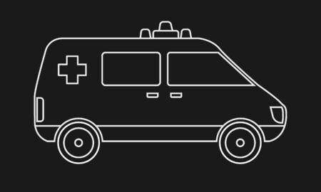 Trendy solid Ambulance icon with line art. Hospital or medical concept design sign. Healthcare vector.