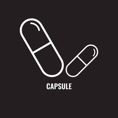 Capsule pill line icon. Solid fish oil pill or capsule with thin line art. Vector illustration. Illustration