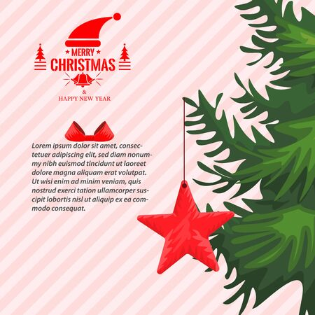 Christmas greeting card with or story template with fir tree border and hand drawn star. Copy space for your design. Vector illustration. Çizim