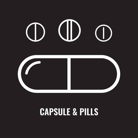 Set of Capsule pill line icon. Solid fish oil pill or capsule with thin line art. Vector illustration. Illustration