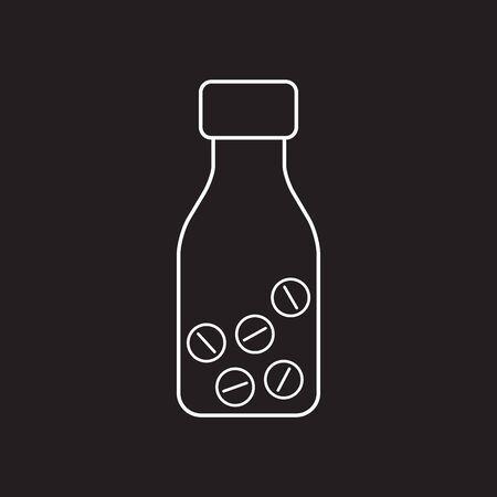 Pills or capsules in bottle line icon. Outline art vector illustration.