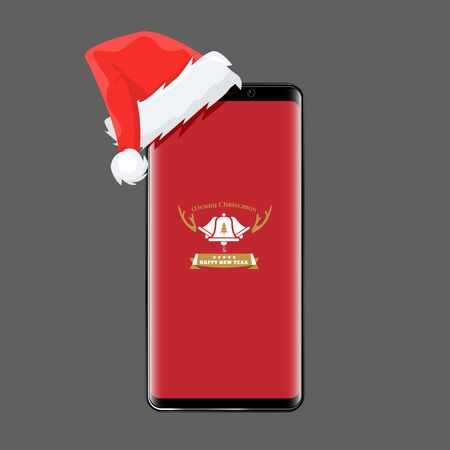 Smartphone with santa claus cap on it for christmas online shopping sale concept. Cell phone and new year design. illustration. Stock Photo