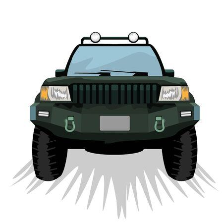Offroad suv car with front view template for labels, emblems, badges or . Vector illustration.