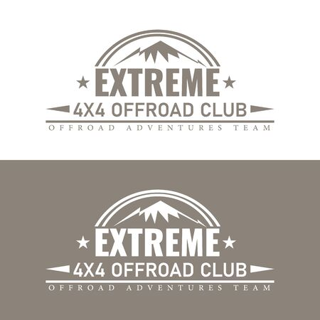 Vintage extreme  or label template with mountain symbol. Isolated Vector illustration. Foto de archivo - 134743280