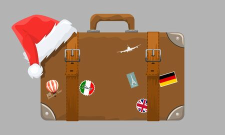 Old style vintage brown voyage suitcase with travel stickers and christmas or santa claus hat or cap. Vector illustration. Illustration