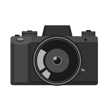 Vintage trendy camera with high detailed illustrated for your design. Black color. Vector illustration icon design.