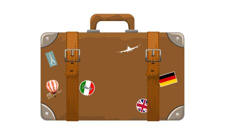 Old style vintage brown voyage suitcase with travel stickers hand drawn cartoon style. Vector illustration. Çizim