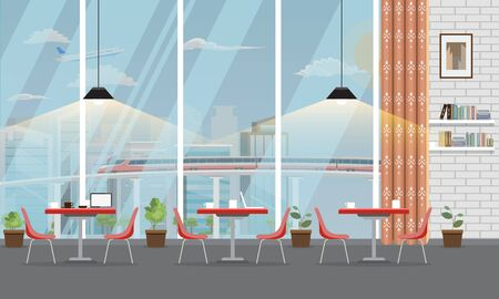 Modern Restaurant or cafe interior with large window and cityscape. Vector illustration.