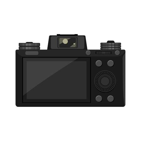Vista lateral posterior de la cámara sin espejo de moda con ilustraciones muy detalladas para su diseño. Diseño de icono de ilustración de vector de color plano y sólido.