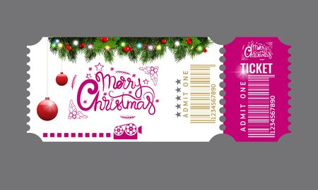 Christmas or New Year party ticket card design template. Vector Illustraton. Blue and pink color.