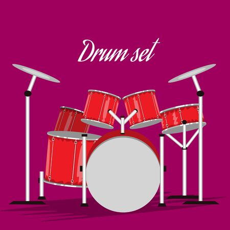 Drums set with hand drawn style for your music design. Cartoon style vector illustration.