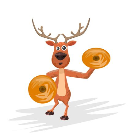 Christmas reindeer playing cynmbals. Hand drawn cartoon style deer and musical instrument for your design. Vector illustration.