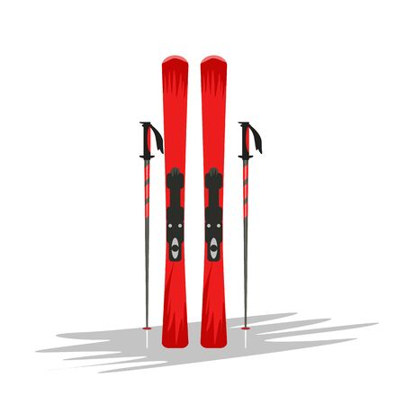 Ski and sticks mockup with hand drawn or cartoon style for your design. Vector illustration.