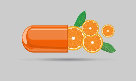 Capsule pill mock up with orange fruit and leaf for hand drawn cartoon style. Flat and solid color vector illustration. Illustration