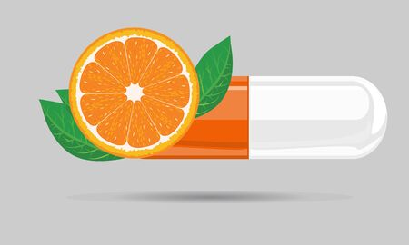 Capsule pill mock up with orange fruit and leaf for hand drawn cartoon style. Flat and solid color vector illustration. Ilustração