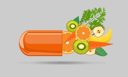 Vitamin capsule pill with fruits for your design. Vector illustration.