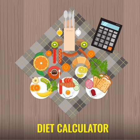 Diet calculator concept. Calculating or counting calories for a breakfast. Vector illustration. Illustration