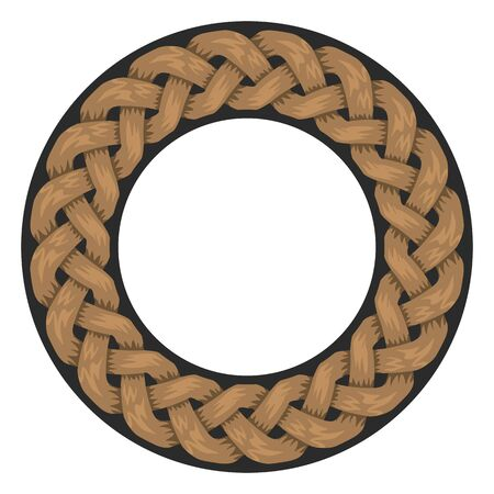Woven Ropes frame or border with circle shape with copyspace for your design. Vector illustration.