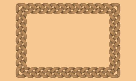 Woven Ropes frame or border with rectangle shape with copyspace for your design. Vector illustration.