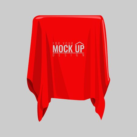 Red silk cloth covered object for your mockup. Cartoon style hand drawn flat and solid color style vector illustration.