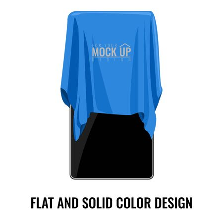 Blue silk cloth covered on smartphone. Cartoon style   flat and solid color style vector illustration.