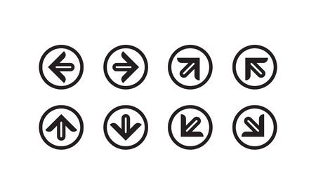 Arrow set with round border. Signs Direction Icon Set. Arrow symbol vector illustration.