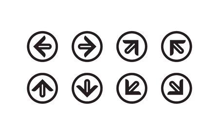 Arrow set with round border. Signs Direction Icon Set. Arrow symbol vector illustration.
