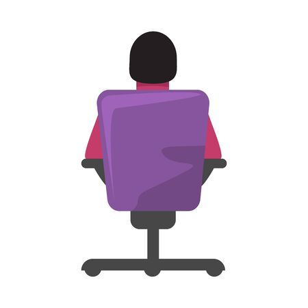 Man businessman or boss sitting on office chair or armchair back side view. Hiring employee concept. Flat and solid color vector illustration.