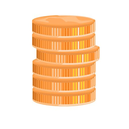 Stack of Gold Coins side view. Cartoon style flat and solid color for your design. Vector illustration.