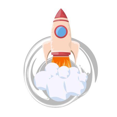 Startup rocket illustration. Flat and solid color style vector illustration for your design.