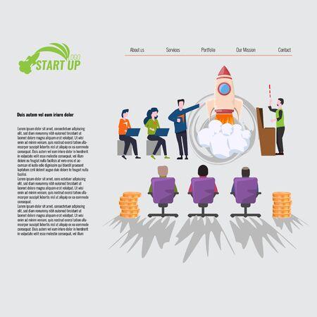 Business Start Up Concept for web page, banner, presentation, social media. Vector illustration. Illustration