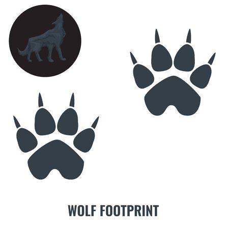Wolf footprint. Flat and solid color vector illustration. Illustration