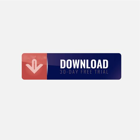 Download Icon on shiny long horizontal rectangle Internet Button. Vector illustration.