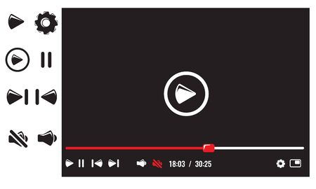 Video player with video player buttons. Flat and solid color design vector illustration.