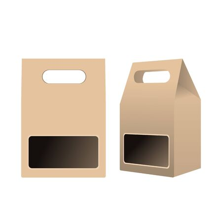 Template food cardboard package. Front and side view. High detailed realistic vector illustration.