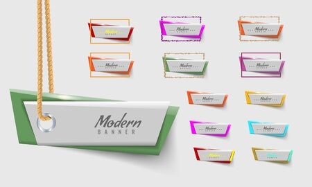 Sale ribbon tag. Modern trendy colors with shadow. Vector illustration.