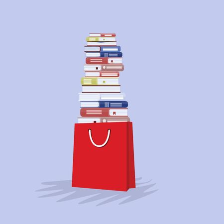 Stack of books in shopping bag. Book shopping concept. Vector illustration.