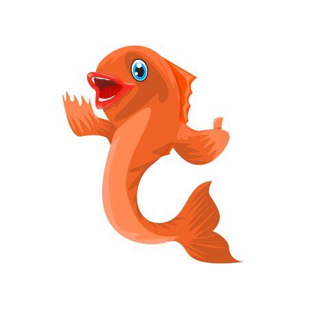 Fish cartoon character thumb up. Vector illustration. Ilustracja