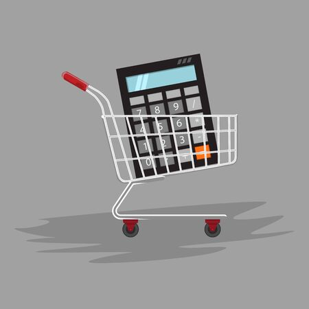 Manage count or calculate your shopping. Calculator in shopping cart. Flat and solid color Vector illustration.