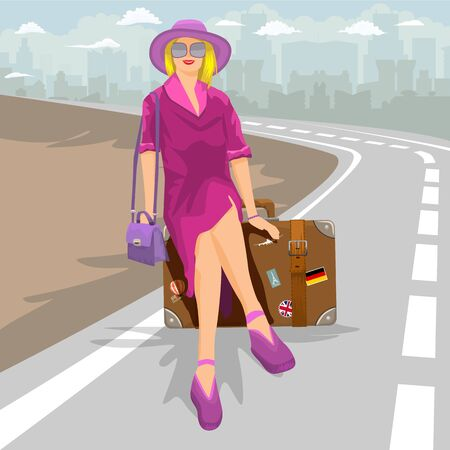 Woman traveler sitting on vintage brown suitcase with cityscape background. Vector illustration.