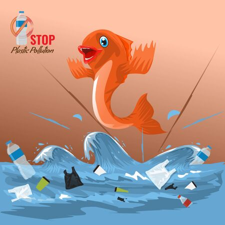 Stop ocean plastic pollution concept with fish character. Plastic garbage bottles in the ocean sea waves for your design. Vector illustration.