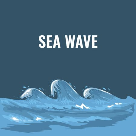Ocean wave illustration with cartoon style. Flat and solid color Vector illustration