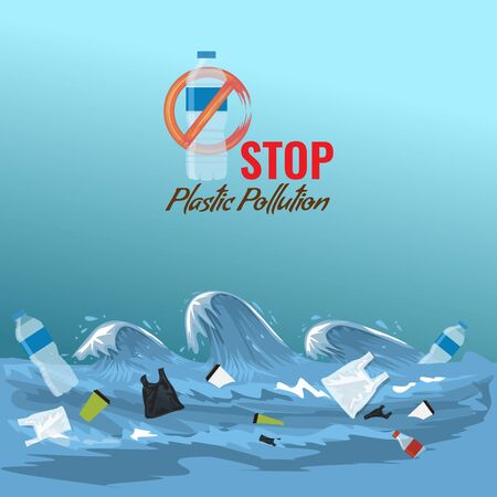 Stop ocean plastic pollution concept. Plastic garbage bottles in the ocean sea waves for your design. Vector illustration.