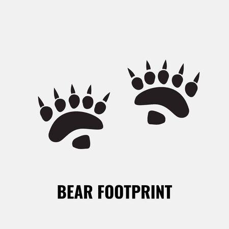 Bear footprint trails. Front and back footprints. Vector Illustration.