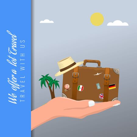 Travel suitcase in hand and travel hat on it with palm tree on background for your ads layout. Vector illustration.