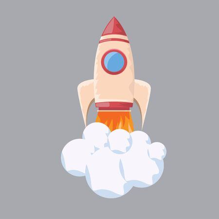 Startup rocket illustration. Flat and solid color style vector illustration for your design.