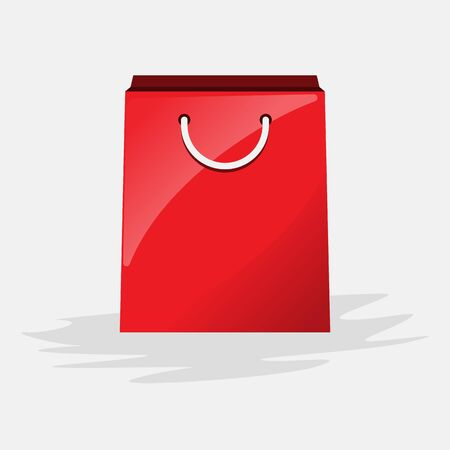 Shopping paper red bag with copyspace. Vector illustration