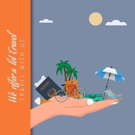 Travel suitcase and other items in hand. Vector illustration.