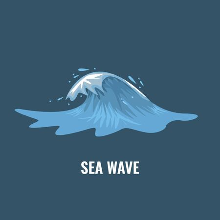 Ocean wave illustration with cartoon style for your design. Flat and solid color Vector illustration