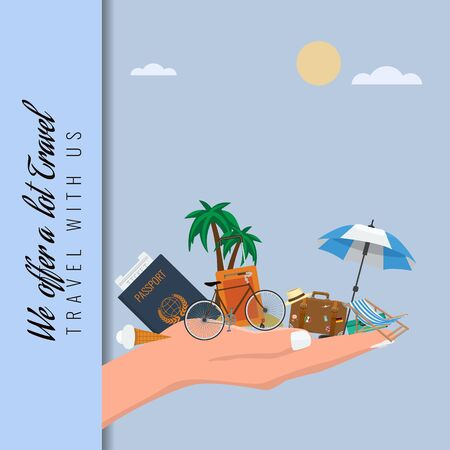 Travel suitcase and other items in hand. Ideal for travel concept advertisement layout. Vector illustration.
